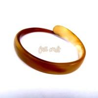 Gelang tanduk asli corak kuning/aksesoris gelang pria wanita
