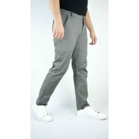 Houseofcuff Celana Chino Panjang Pria Slim fit Stretch Jeans Abu tua