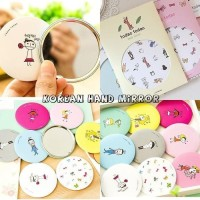 CERMIN MINI MAKE UP KACA RIAS KOREAN HAND MIRROR BULAT KARAKTER