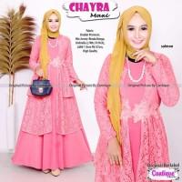 Gamis Pesta Brukat Premium Mix Jersey Renda Bunga Baju Wanita Terbaru