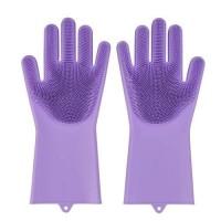 Sarung Tangan Silikon Gloves Tebel Tahan Panas Spons Cuci Piring Scrub