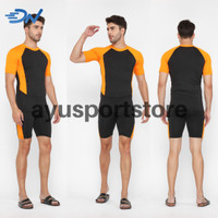 Celana renang jumbo dan baju renang pria setelan renang dewasa - Orange, M