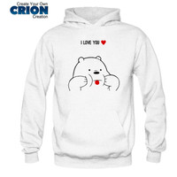 Jaket Sweater Hoodie We Bare Bears - Ice Bear I Love You - By Crion