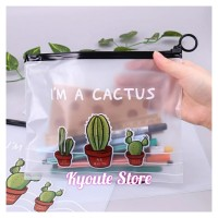 Cute Cactus Zipper Bag Pouch Organizer Tempat Penyimpanan Dokumen