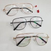 kacamata besi vintage aviator lensa minus normal plus silinder - Hitam