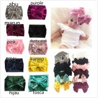 bandana pita besar velvet untuk bayi anak bahan bludru headband bando