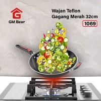 GM Bear Wajan Teflon Gagang Merah 32cm 1069-Wajan Penggorengan Teflon
