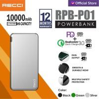 Recci Power Bank RPB-P01 10000Mah Hijau/Abu-abu/Merah - Hitam