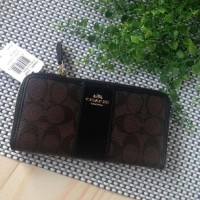 Coach Wallet Sign Mahogany Pvc Printed Mix Leather Women Wallet