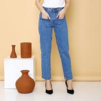 FREE ONGKIR - Celana Boyfriend Jeans Wanita Kantong Depan Ukuran Besar