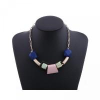 Vintage Pendants Akrilik Necklace Statement / Warna-warni Style Beads