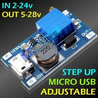 Step Up Micro USB Adjustable 2A in 2 24v out 5 28v DC Booster Power