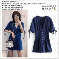 AB550650 Jumpsuit Jumsuit Celana Pendek Biru Wanita Korea Import