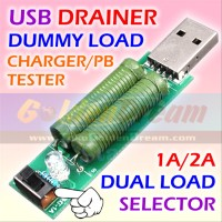 Penguras USB Drainer Dummy Load 1A 2A Tester Charger Powerbank Curre