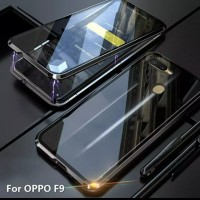 Case MAGNETIC Oppo F9 Double Glass Anti Baret Metal Casing f9