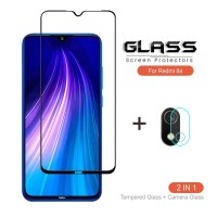 PAKET Tempered Glass Full Cover + TG Anti Gores Kamera Xiaomi Redmi 8A