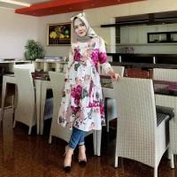 Tunik Feranda Floral Midi Dress Busui Terbaru Outfit