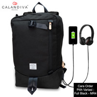 Calandiva Tas Ransel Pria Backpack Unisex USB Kabel Headset Port - MR4