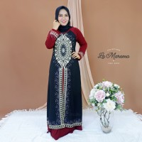 Gamis Abaya Maxi Dress Arab Hitam Bordir Jersey Mix Ceruty INR03