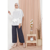 Hijab Ellysha KINGSTON PLEATED CULLOTES PANTS SHIMMER NAVY