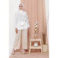 Hijab Ellysha KINGSTON PLEATED CULLOTES PANTS SHIMMER BEIGE