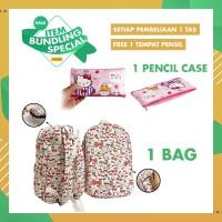 PROMO ITEM BUNDLING Tas Kanvas Tempat Pensil Sekolah Anak Hello Kitty