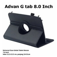 """Advan G Tab 8.0 8"""" 8 Inch Rotate Leather Flip Book Cover Case Casing - Cokelat"""