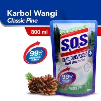 SABUN PEMBERSIH LANTAI SOS ANTIBACTERIAL CLASSIC PINE 800ML REFILL