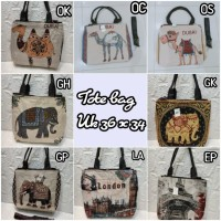 TOTE BAG UNTA ARAB DUBAI OLEH HAJI SOUVENIR - TAS LONDON PARIS IMPORT