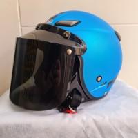 Helm JPN kawai momo biru doff kaca datar