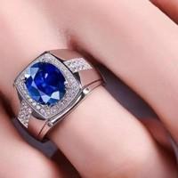 Cincin Pria Akik Safir Biru Ring Warna Perak Batu Blue Sapphire Cubic