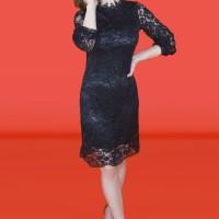 Kakuu Basic - High Neck Lace Midi Dress