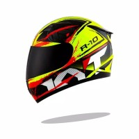 promo Helm Full Face KYT R10 2 Yellow Black Red Fluo