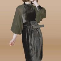 Kakuu Basic - Puff Sleeve Velvet Dress