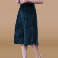 Kakuu Basic - Velvet Flare Midi Skirt