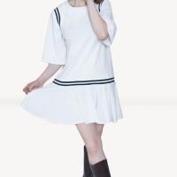 Kakuu Basic - Stripe Accent Loose Mini Dress