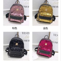 Ransel sequin bolak balik studed anak import