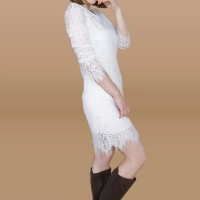 Kakuu Basic - Long Sleeve Lace Midi Dress