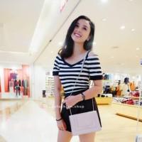 HanaFashion - Salur Sabrina Stripe T-Shirt Kaos Belang Wanita Hitam