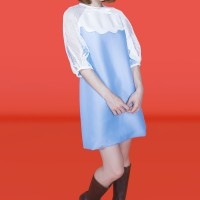 Kakuu Basic - Mesh Detail Mini Dress