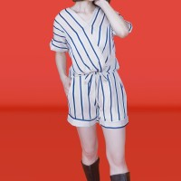 Kakuu Basic - 1 Set Stripe Blouse + Shorts