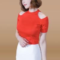 Kakuu Basic - Cutout Shoulder Knit Top