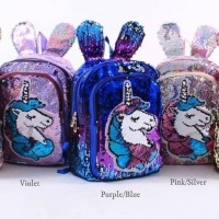 Tas sequin unicorn ear 1544 anak import