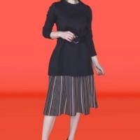 Kakuu Basic - Faux Layer Belt Midi Dress