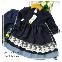 Gamis Anak Polos Wollycrepe Navy