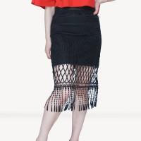 Kakuu Basic - Tassel Midi Skirt