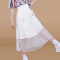 Kakuu Basic - Mesh Detail Pleat Skirt