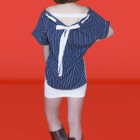 Kakuu Basic - Lace Point Stripe Mini Dress