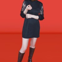 Kakuu Basic - Lace Sleeve Mini Dress