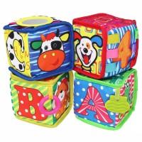 Mainan Buku Kubus Kain Bayi Edukasi Teether Soft Book Baby Cube Rattle